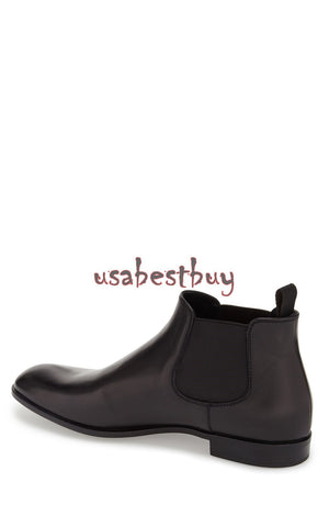 New Handmade Simple Style Black Leather Chelsea Boots, Men real leather boots