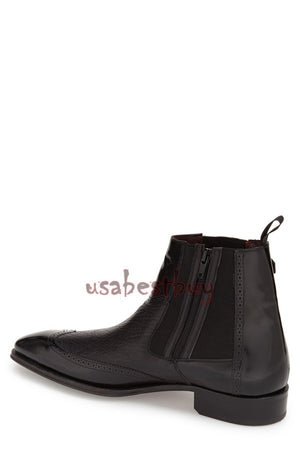 Custom Handmade Men Chelsea Black Leather Ankle Boots, Men boots in real leather