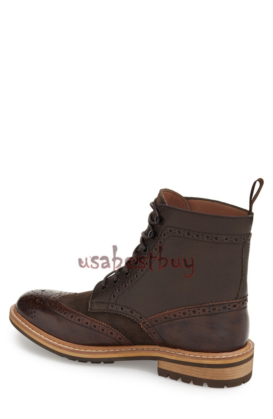 New Handmade Oxford Brogue Style Real Leather Ankle Boots, Men Stylish boots