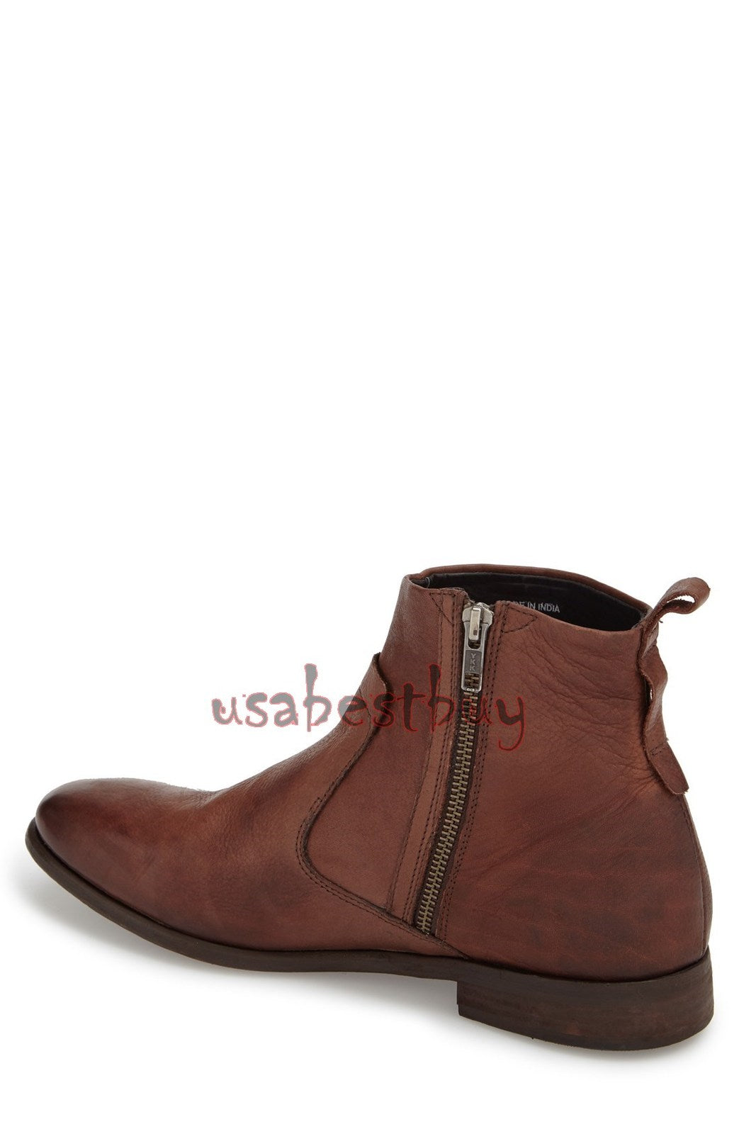 New Handmade Latest Style Real Leather Ankle Boots with Simple Toe and Zipper
