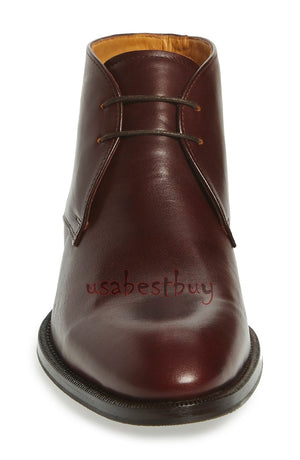 New Handmade Chukka Simple Style Brown Leather Boots, Men Brown leather boots