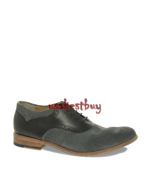 New Handmade New Style Grey Suede and Plan Leather Shoes, Men real leather shoes