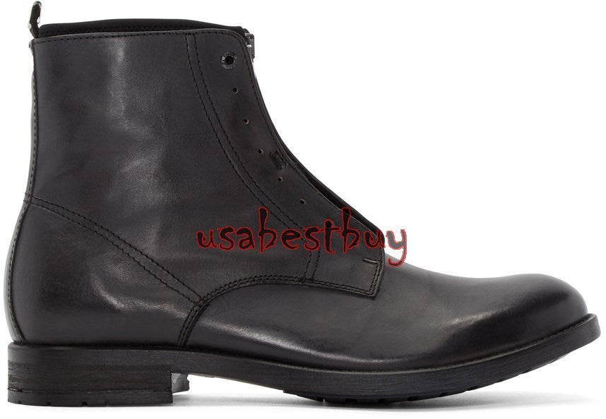 New Handmade Latest Style Ankle Black Pure Leather Boots, Men real leather boots