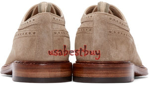 New Handmade Brogue Style Men Suede Leather Shoes in Beige Colour, Men shoes