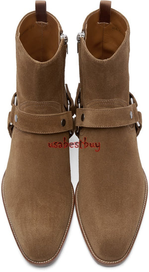 New Handmade Latest Style High Ankle Real Suede Boots with Zipper