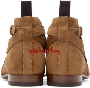 New Handmade Jodhpur Style Ankle Suede Leather Brown Boots, Men leather boots