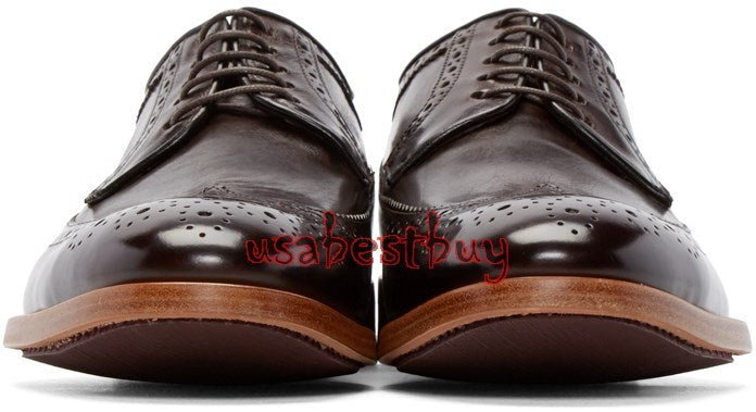 New Handmade Classic Brogue Style Real Leather Black Dress Shoes, men dress shoe