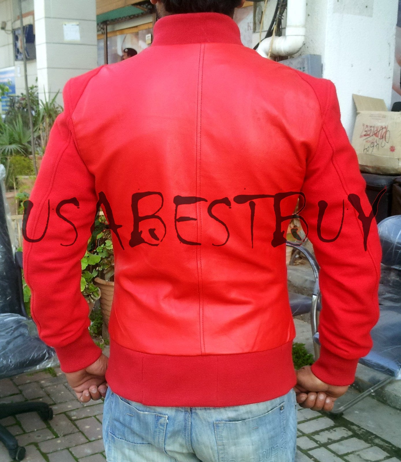 Handmade New Men Stylish Ribbed in Red Leather Jacket, Men Leather jacket