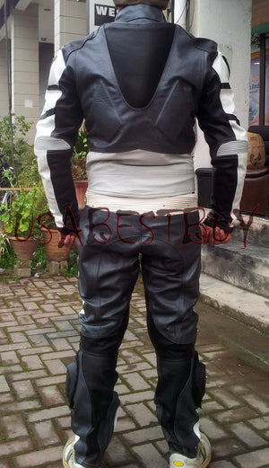 Custom Handmade Motorcycle Leather Suit in Latest Unique Style Gray Color Padded