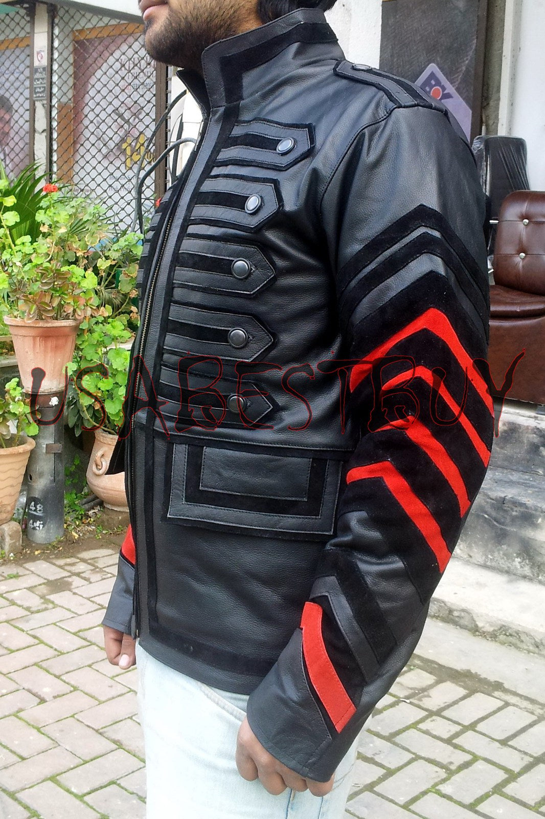 Handmade New Men Stylish Unique Military Style Leather Jacket, Men jacket