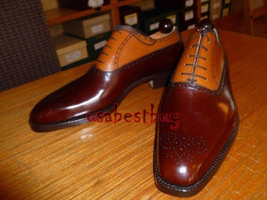 New Handmade 2 Tone Brown Genuine Leather Shoes, Men leather Shoes Laces