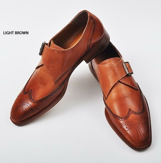 New Handmade Monk Style Light Brown Genuine Leather Shoes , Men leather Shoes