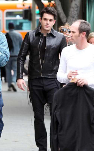 Handmade JOHN MAYER BLACK FASHION LEATHER JACKET, MEN MOTORCYCLE LEATHER JACKET