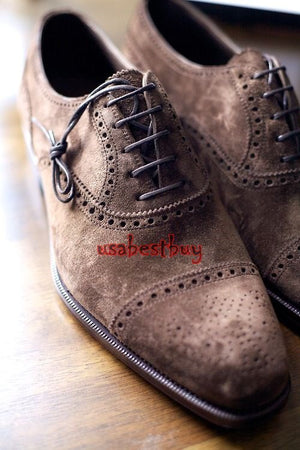Handmade Latest Style Choco Brown Suede Leather Shoes, Men real leather shoes