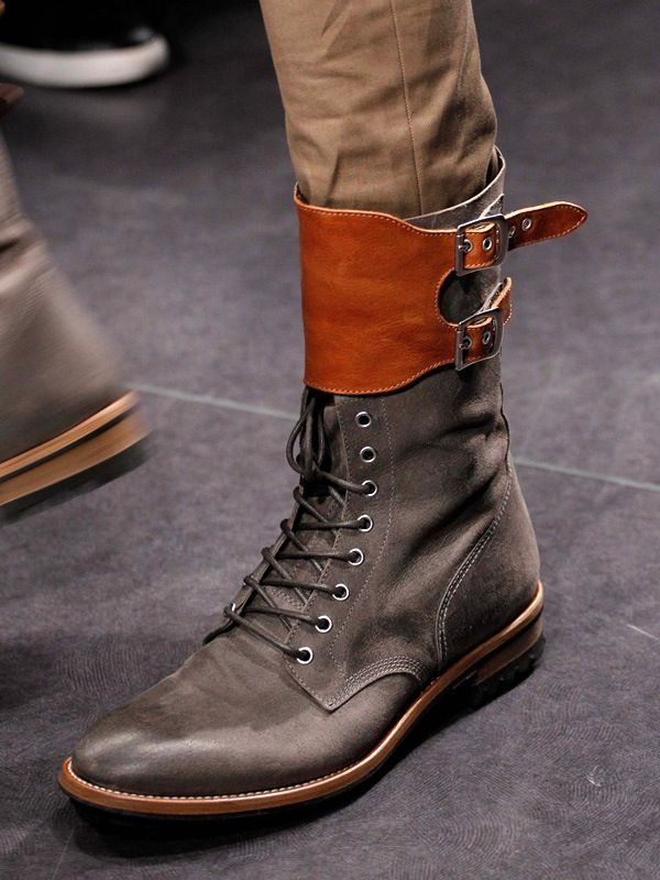 New Handmade Mens Military Style Superb Leather Boots with Ankle High Straps