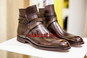 New Handmade Men Jodhpur Style Real Leather Brown Ankle Boots, Men leather boots