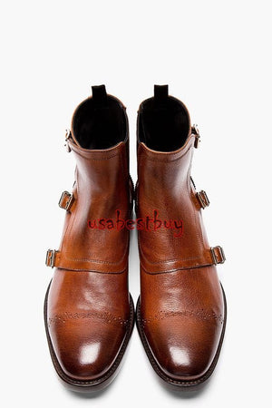 New Handmade Monk Style Brown Genuine Leather Boots, Men leather boots