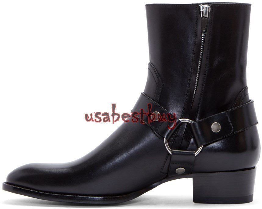 New Handmade Latest Style High Ankle Pure Leather Boots, Men real leather boots