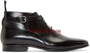 New Handmade Jodhpur Style Ankle Strap Pure Leather Black Boots, Boots for Men