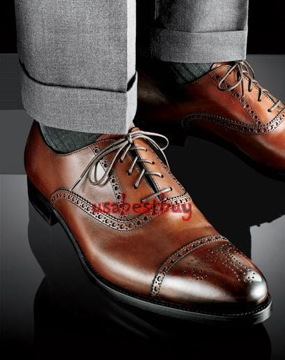 New Handmade Unique Style Brown Genuine Leather Shoes , Men leather Shoes Brogue