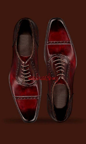 New Handmade Unique Style Maroon Genuine Leather Shoes , Men leather Shoe Shaded