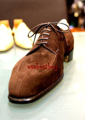 New Handmade Latest Style Brown Suede Leather Shoes, Men real leather boots