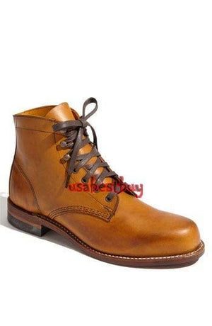 New Handmade Men Round Style Real Tan Leather Ankle Boots, Men boots with laces