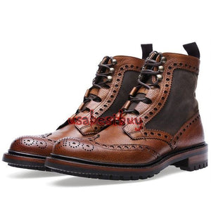 New Handmade Men Oxford Style Real Leather Dark Brown Ankle Boots, Men boots