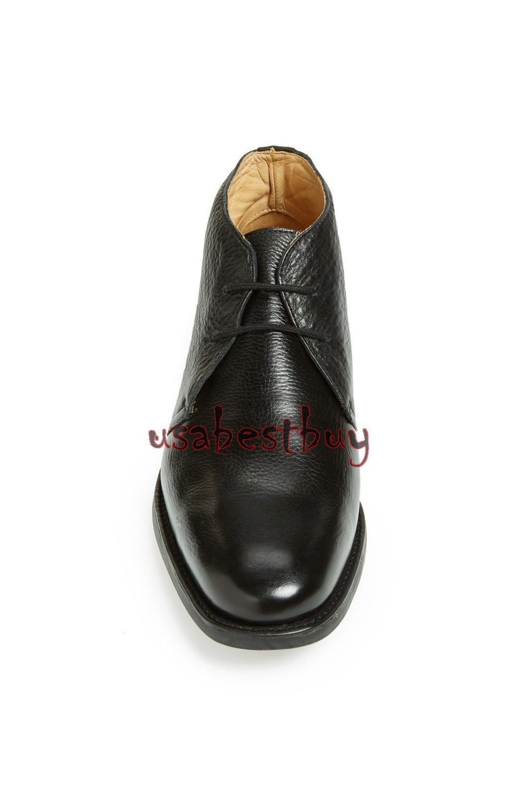 New Handmade Chukka Simple Style Black Leather Boots, Men real leather boots