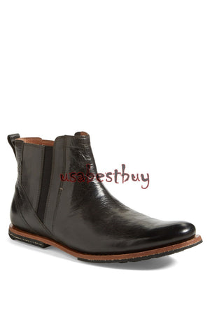New Handmade Latest Style Black Leather Chelsea Boots, Men leather boots