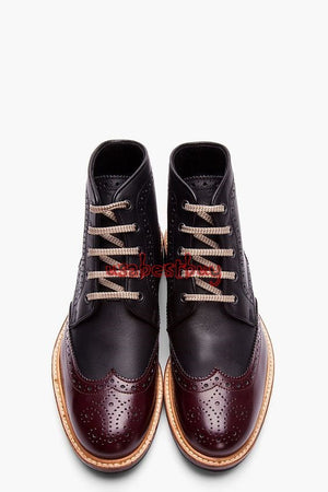 Custom Handmade Men Black and Maroon Leather Ankle Boots, Leather boots for Men
