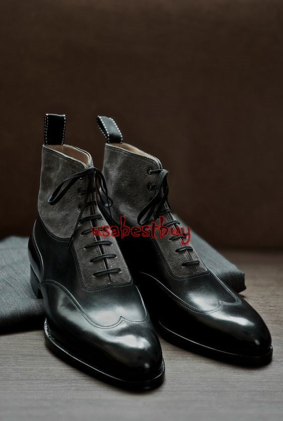 Custom Handmade Men Unique Style Real Black Leather and Suede Ankle Boots