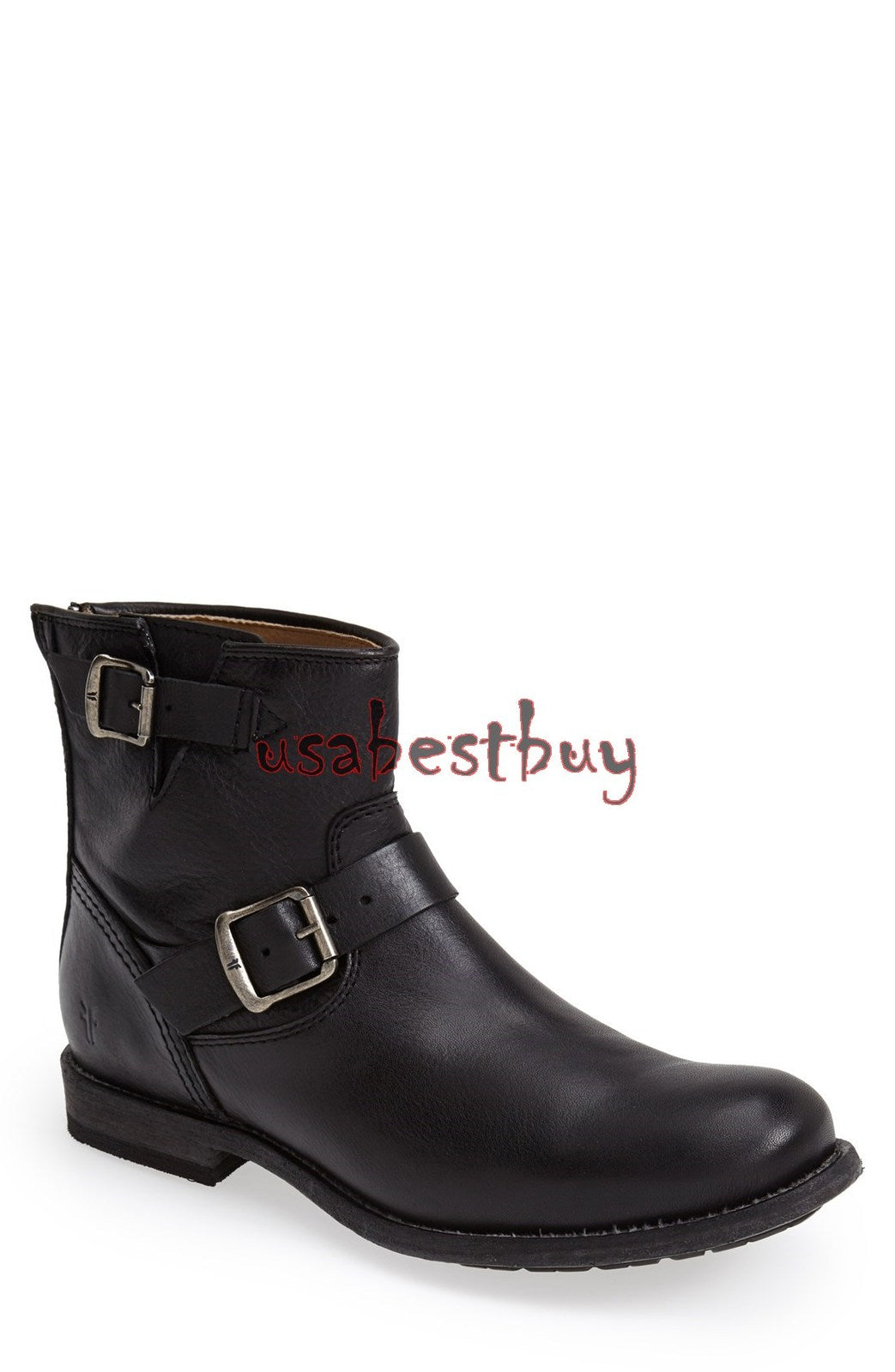 New Handmade Men Ankle High Style Genuine Leather Boots, Men Black Buckle Boots