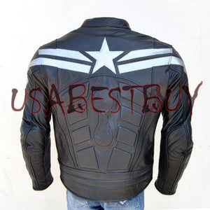 Handmade Chris Evan Captain America Costume Pure Leather Biker Jacket Padded
