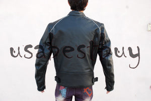 Custom Handmade Motorcycle Leather Jacket in Simple Style with Pads in Black