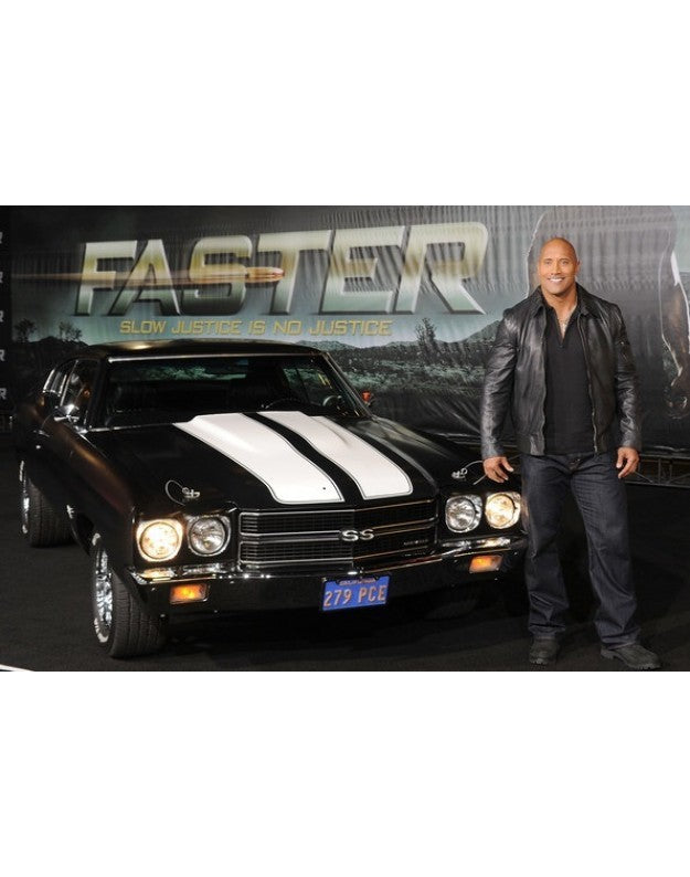 "Handmade DWAYNE JOHNSON ""FASTER"" ARRIVALS LEATHER JACKET,NEW CELEBRETRIES OUTFIT"