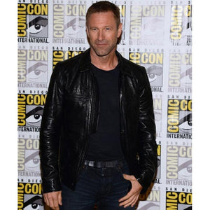 Handmade Aaron Eckhart Adam Frankenstein Leather Jacket, Black Leather Jacket