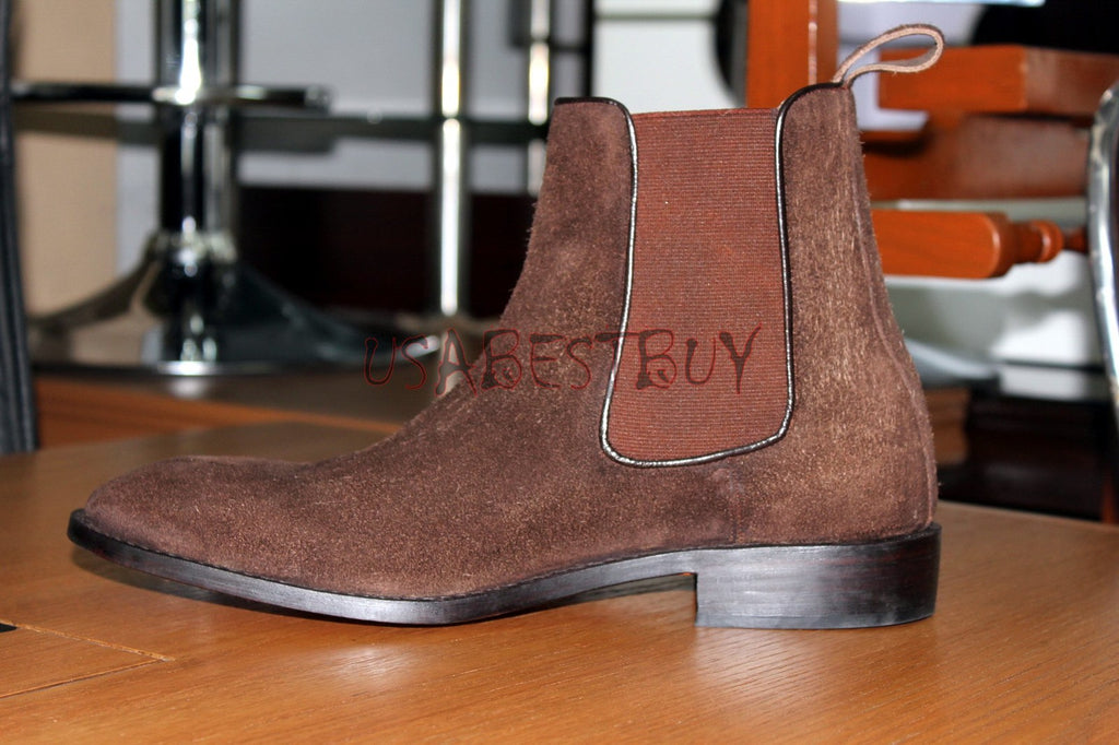 Custom Handmade Men Chelsea Brown Leather Ankle Boots, Men boots in real leather
