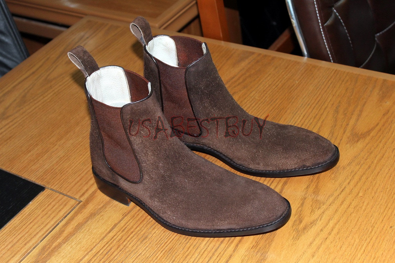 Custom Handmade Men Chelsea Brown Leather Ankle Boots with Piping Style