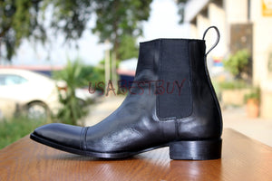 Custom Handmade Men Chelsea Black Leather Ankle Boots, Men boots real leather