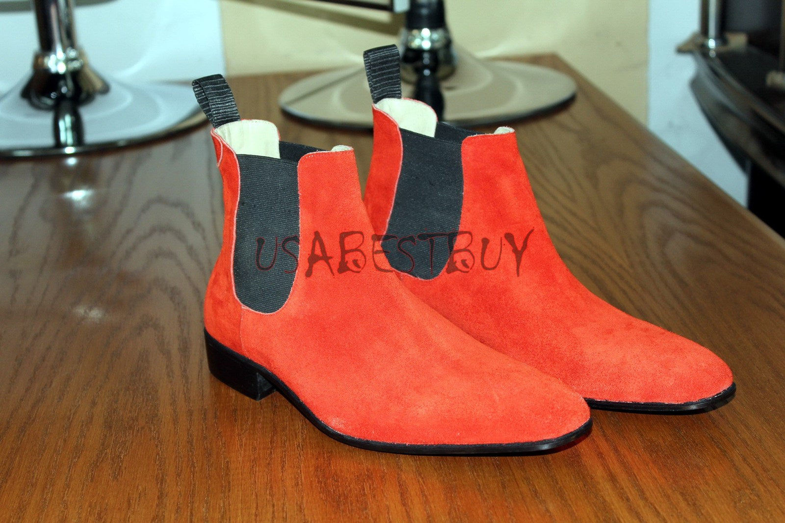Custom Handmade Men Chelsea Red Real Suede Boots, Men Chelsea boots