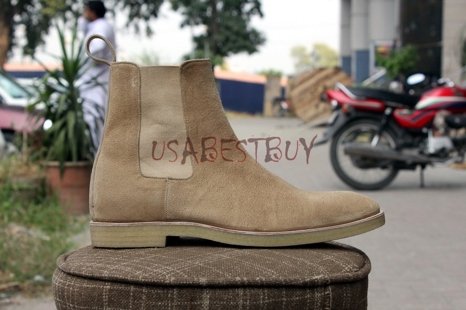 Custom Handmade Men Chelsea Beige Suede Boots with Crepe Sole, Men Chelsea boots
