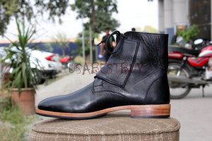 Custom Handmade Men Monk Leather Ankle Boots, Men Boots Monk and laces