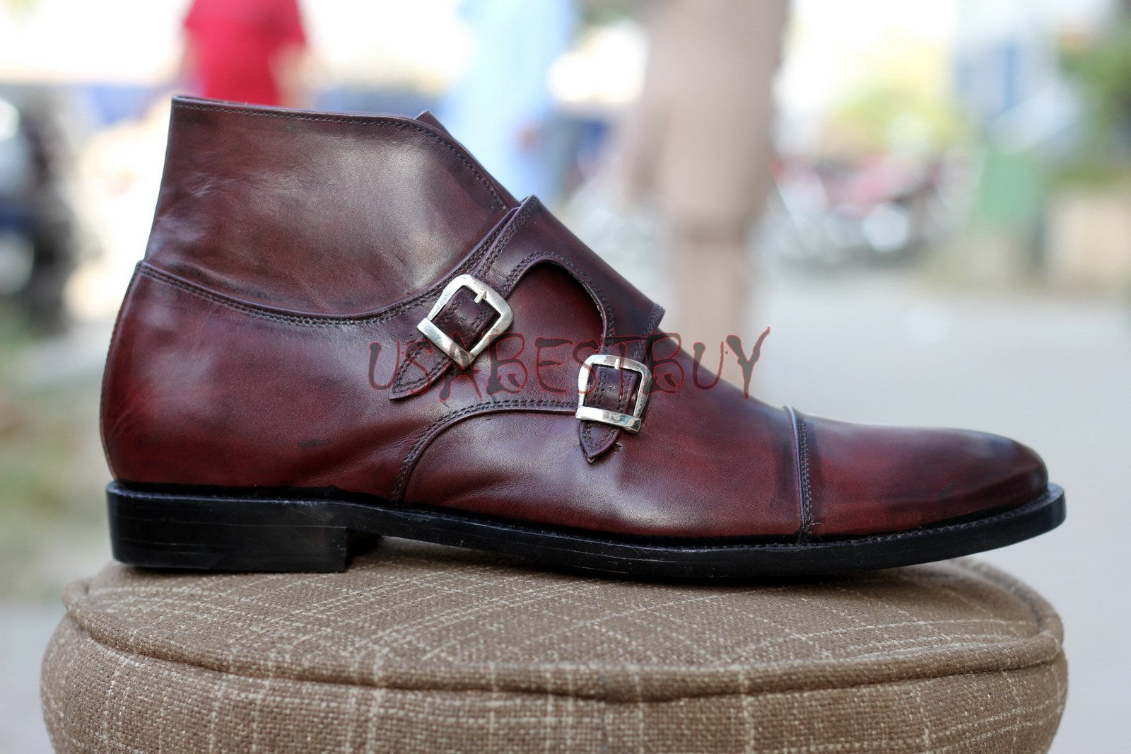 Custom Handmade Men Brogue in Chukka Style Leather Boots with Buckles