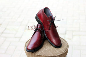 Custom Handmade Men Simple Chukka Style Real Leather Shoes, men formal shoes