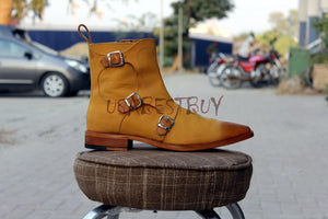 New Handmade Men Designer Zipup Leather High Boots with Buckle and Shades