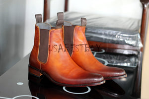 Custom Handmade Men Chelsea Brown Real Leather Boots Shaded in Latest Style