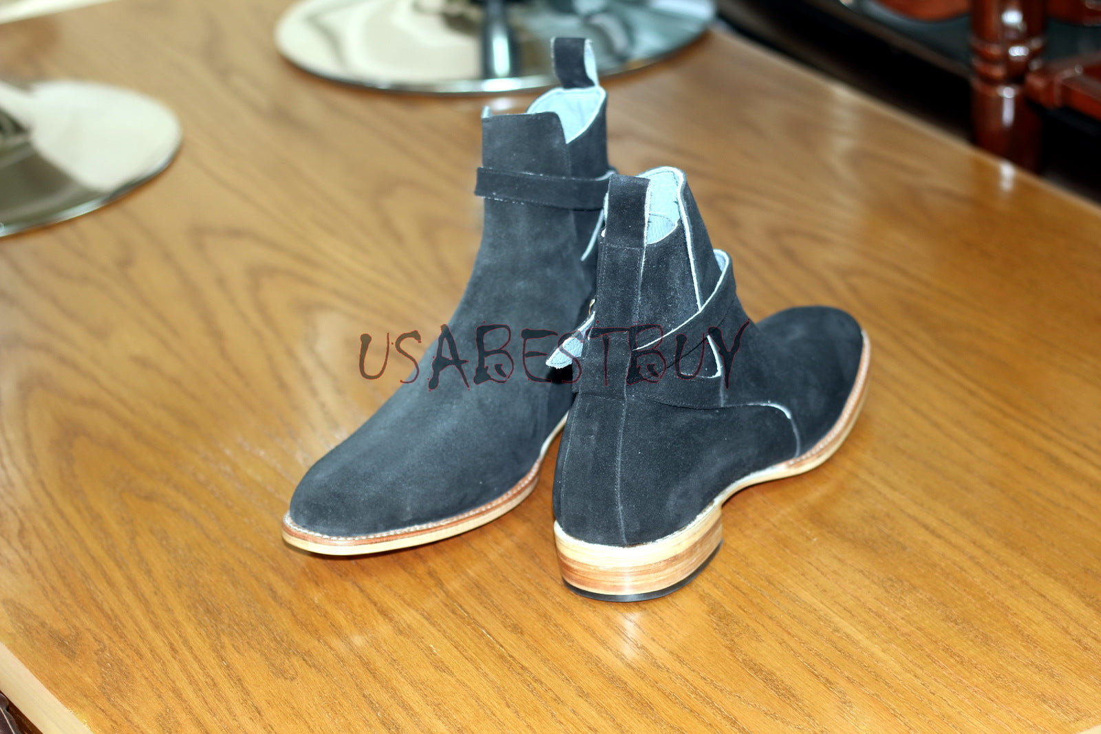 Custom Handmade Men Latest Jodhpur Real Suede Ankle Boots