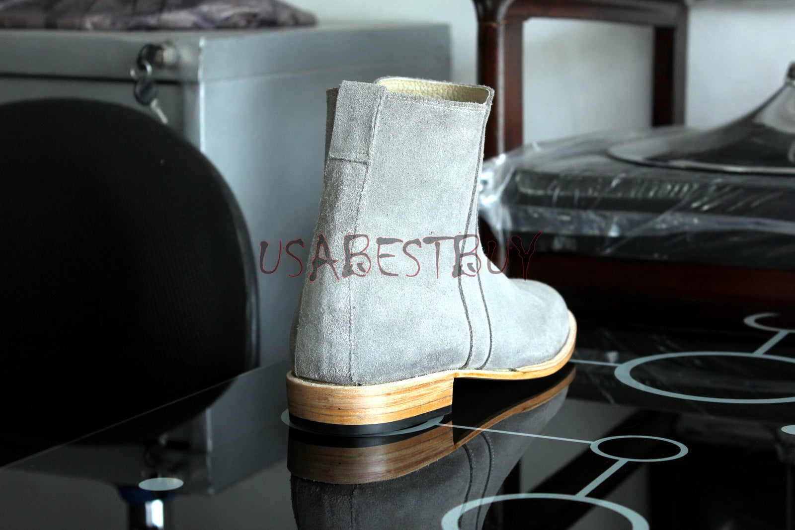 Custom Handmade Men Latest Grey Real Suede ZipUp Boots, Men leather boots