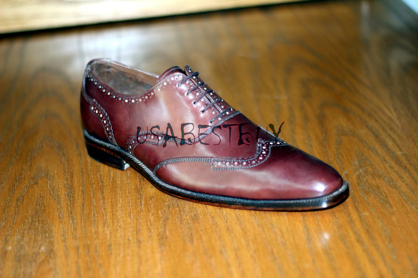 Custom Handmade Men Brogue Style Wingtip Real Leather Shoes, men formal shoes